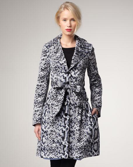 Wrap Me Snake-Print Coat