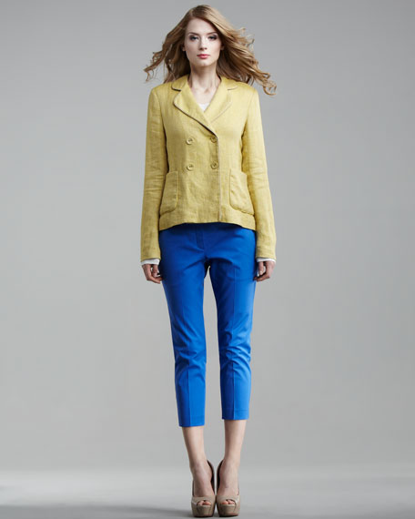 Stretch-Twill Cropped Pants