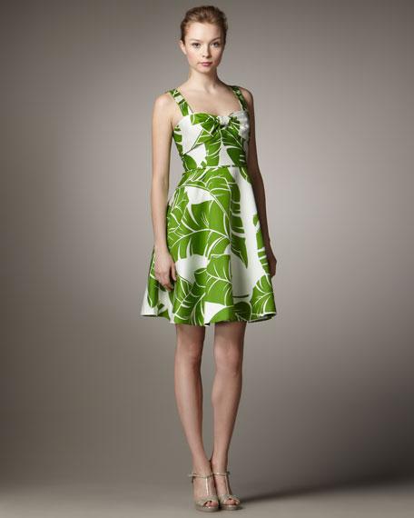 Leaf-Print Full Dress