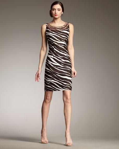 joselle zebra-print dress