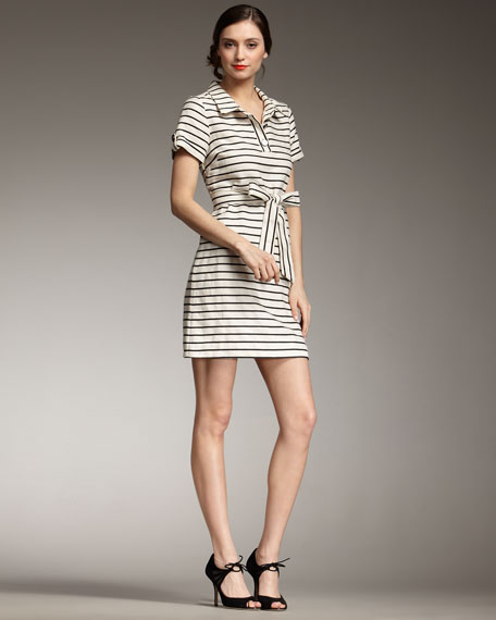 dana striped tie-waist dress