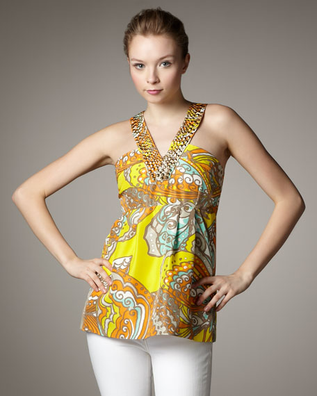 jana bead-neck printed top