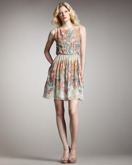 Jewel Floral-Print Dress