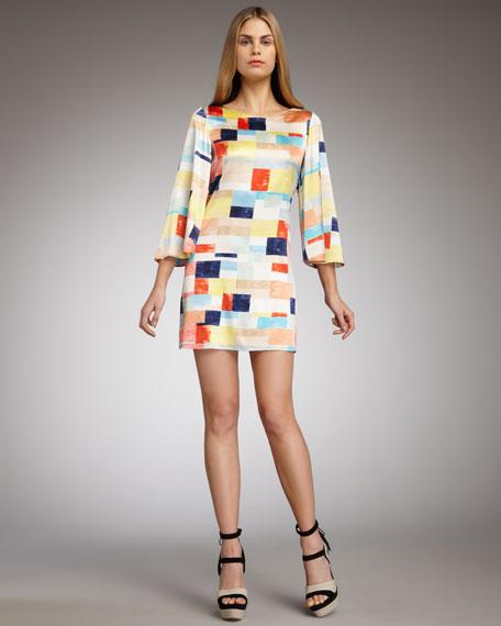 Sandra Box-Print Shift Dress