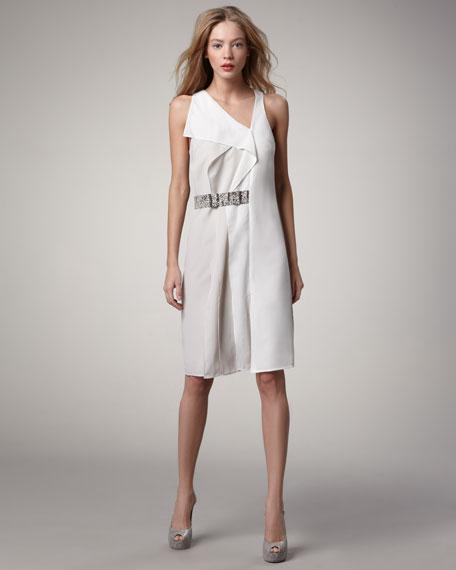 Belted Asymmetric Shift Dress