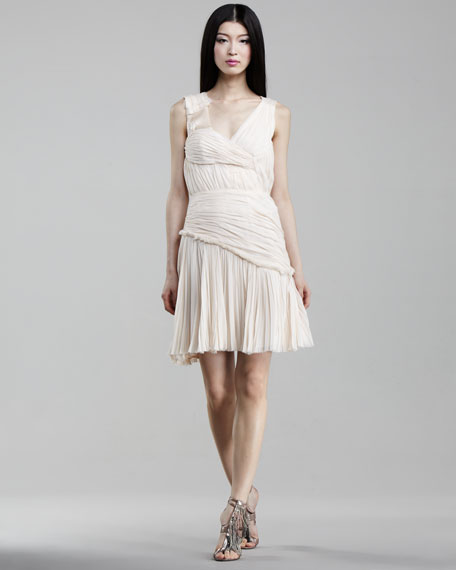 Asymmetric V-Neck Silk Dress, Pink Opal