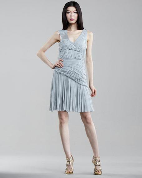 Asymmetric V-Neck Silk Dress, Ice Blue