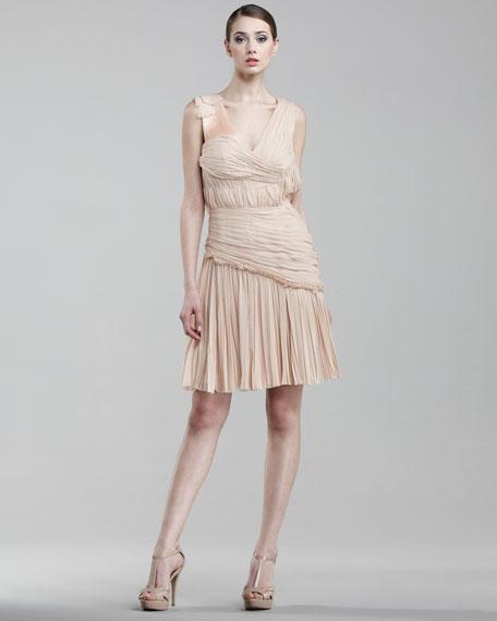 Asymmetric V-Neck Silk Dress, Blush