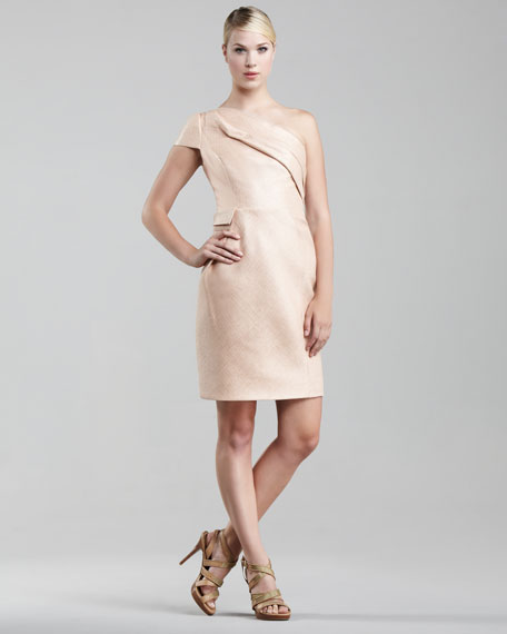 One-Sleeve Raffia Dress, Peach