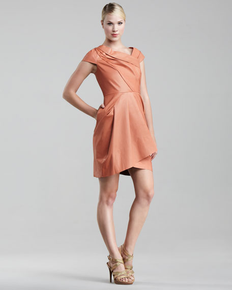 Asymmetric Lambskin Dress