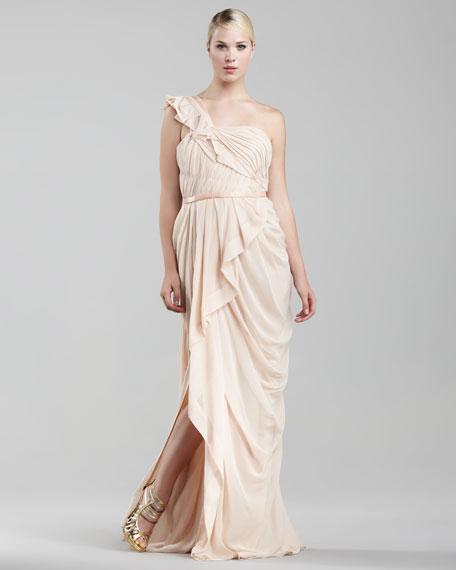 One-Shoulder Chiffon Gown, Blush