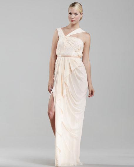 Asymmetric Chiffon Gown, Sheer Peach