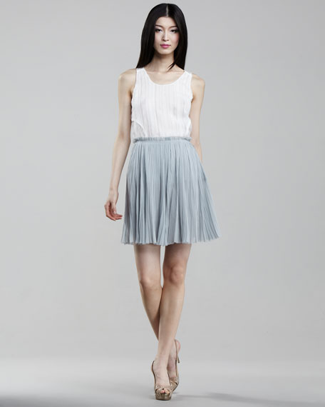 Chiffon Plisse Skirt, Ice Blue