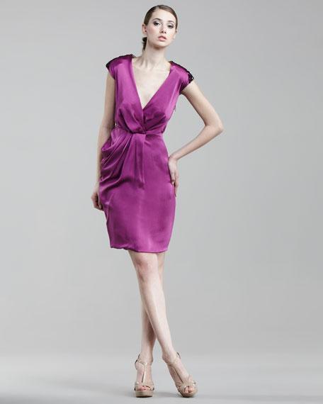 Drape-Skirt Sequin-Back Dress