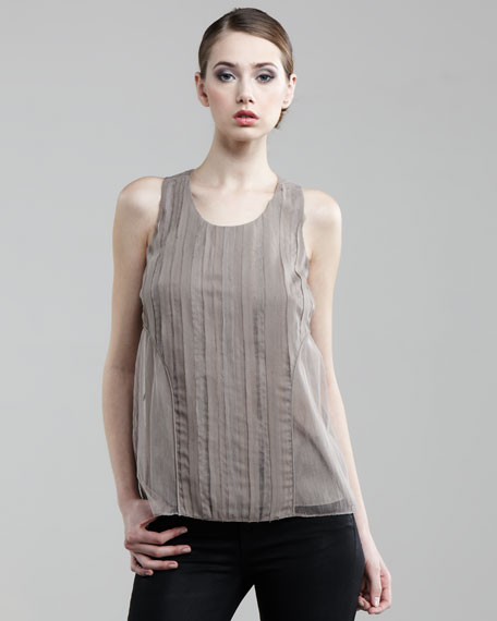 Sleeveless Mousseline Top, Taupe