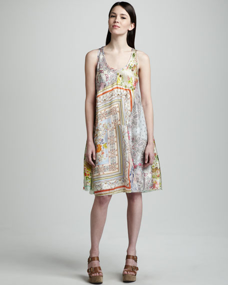 Mixed-Print Silk Tank Dress