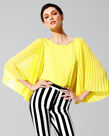 Briar Pleated Bell-Sleeve Top