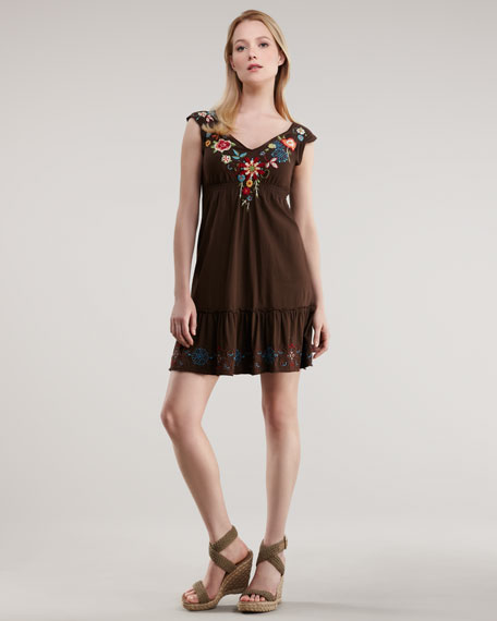 Embroidered Terry Dress, Women's