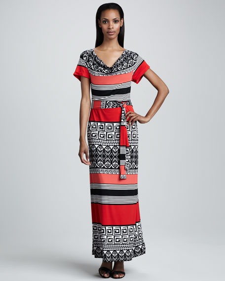 Long Printed Jersey Dress, Women's