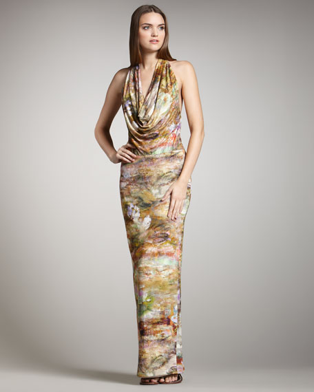 Selena Printed Halter Maxi Dress