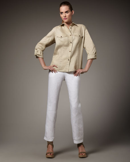 Straight Linen Pants, Petite