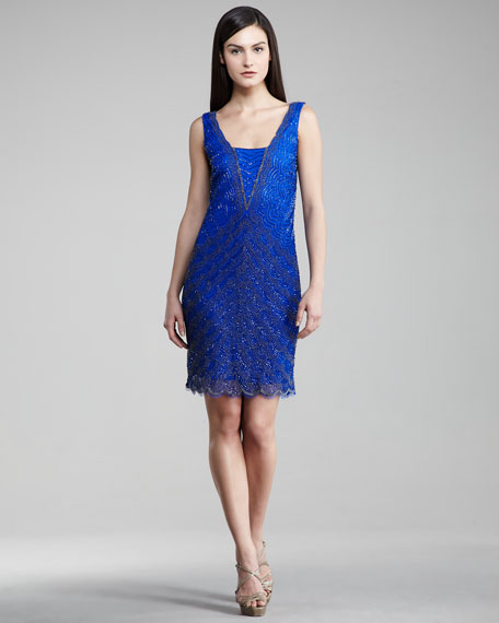 Scallop-Sequin Sleeveless Dress