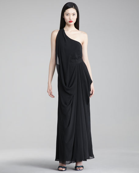 One-Shoulder Draped Chiffon Gown