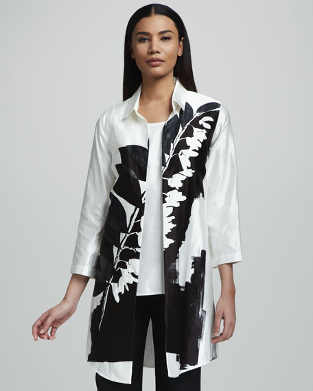 Branch-Print Long Jacket
