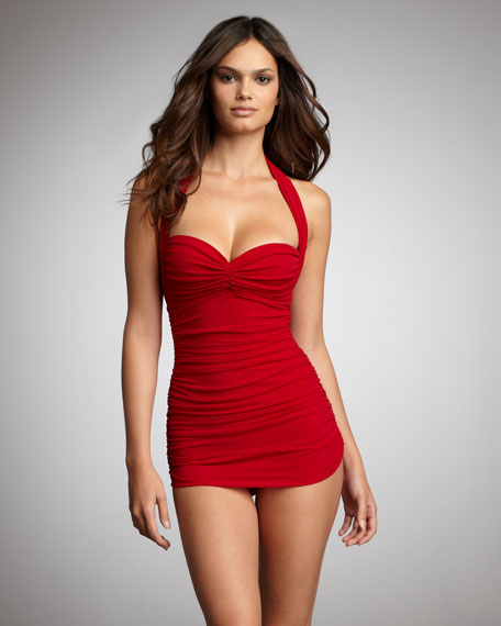Ruched Swimdress, Red