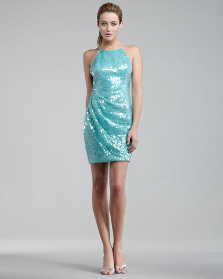 High-Neck Sequin Swan Dress