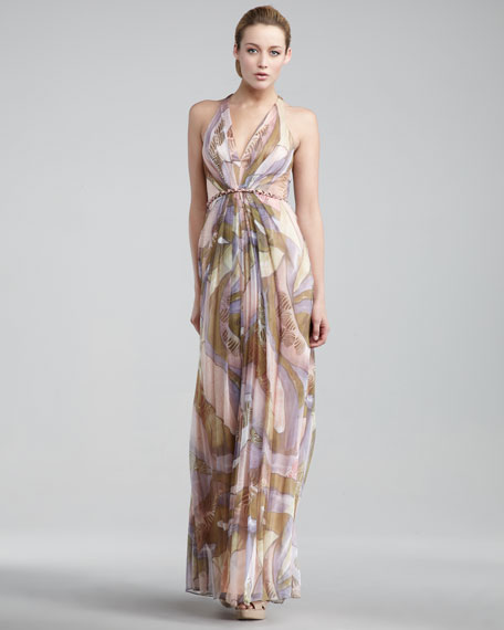 Strappy-Back Halter Gown