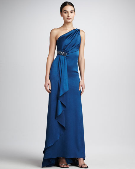 Beaded One-Shoulder Waist Gown