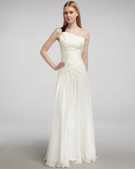 Contrast-Strap One-Shoulder Gown