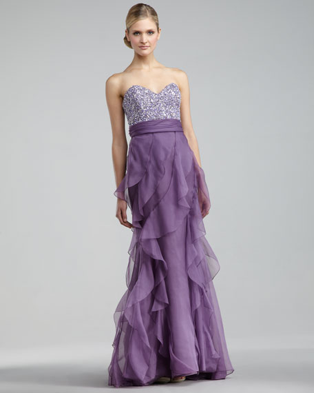 Beaded-Bodice Strapless Gown