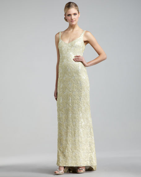 Scoop-Neck Embroidered Gown