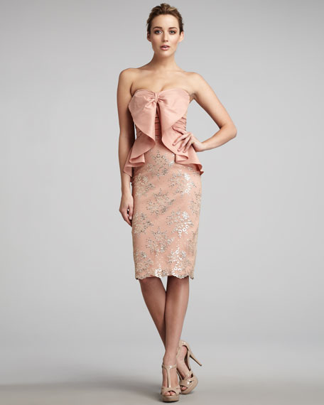 Bow-Front Lace Dress
