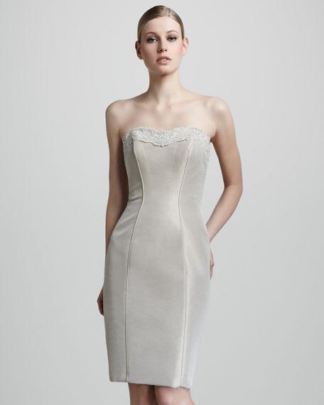 Strapless Beaded Cocktail Dress