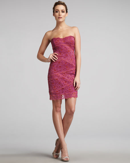 Two-Tone Strapless Lace Dress