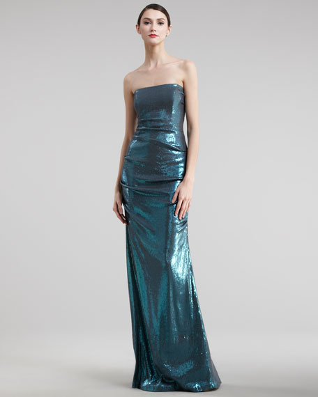 Strapless Sequin Gown, Turquoise