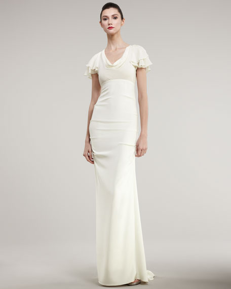Flutter-Sleeve Fitted Gown