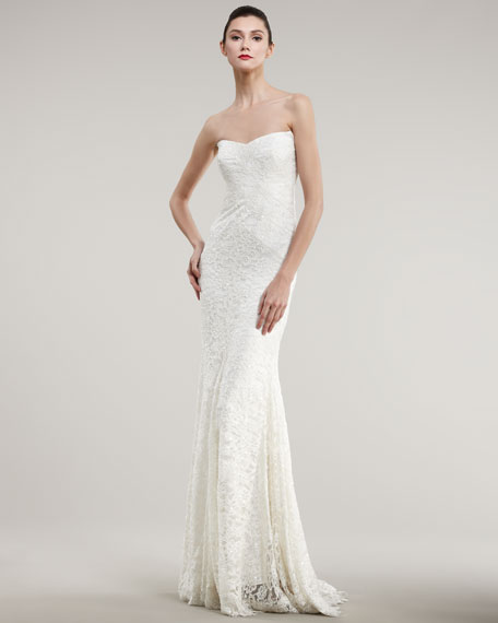 Strapless Lace Bias Gown