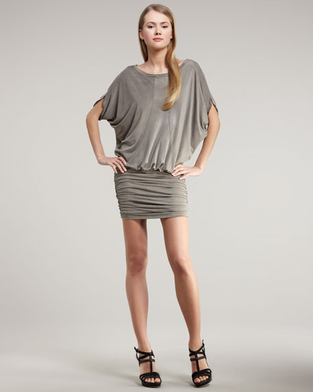 Short-Sleeve Jersey Blouson Dress