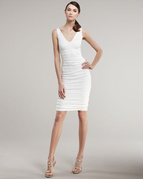 Metallic Cotton V-Neck Dress