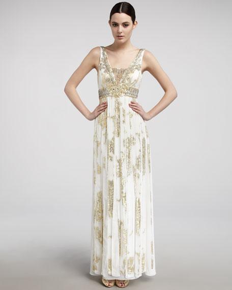 Metallic Carwash-Pleat Gown