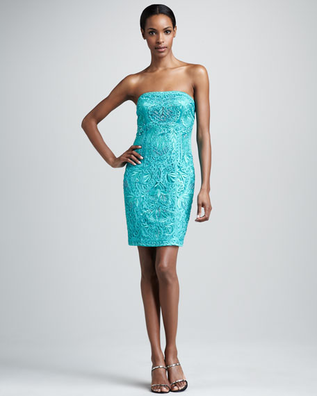 Strapless Embroidered Dress