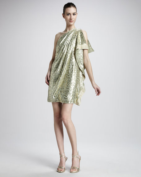 One-Shoulder Brocade Caftan Dress