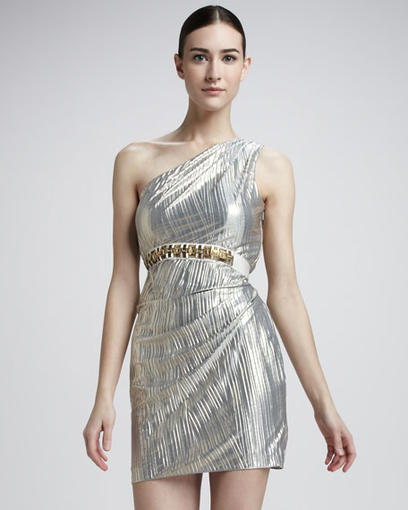Beaded-Waist One-Shoulder Dress