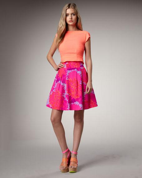Jacy Pleated Floral-Print Skirt