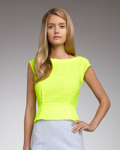 Yearbook Peplum Top, Citron