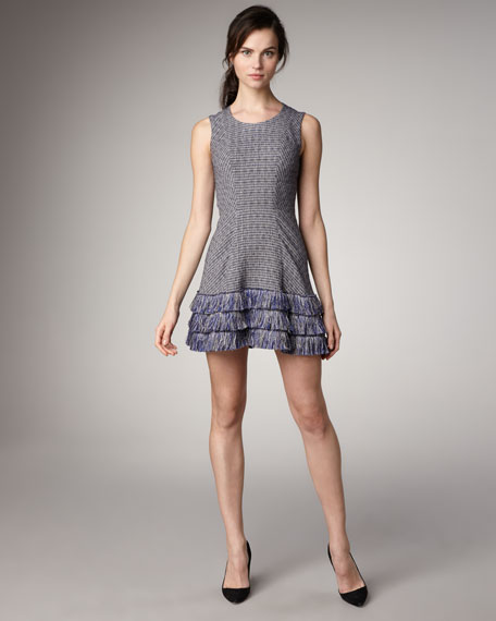 Fringe-Hem Tweed Dress
